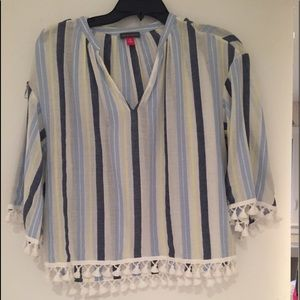 Vince Camuto Striped Shirt with tassels